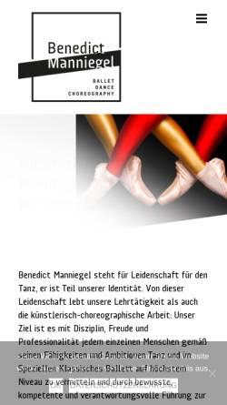 Vorschau der mobilen Webseite www.ballettschule-muenchen.de, Ballettschule Benedict-Manniegel