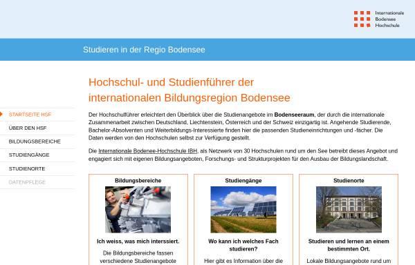 Vorschau von www.hochschulfuehrer.net, Hochschul- und Studienführer, Regio Bodensee