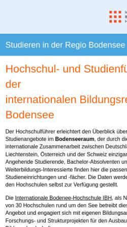 Vorschau der mobilen Webseite www.hochschulfuehrer.net, Hochschul- und Studienführer, Regio Bodensee