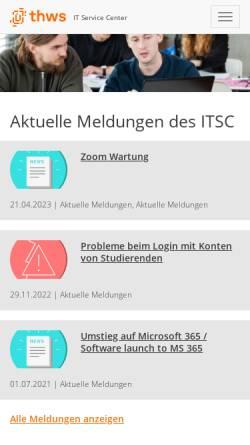Vorschau der mobilen Webseite itsc.fhws.de, FH Würzburg-Schweinfurt - IT Service Center