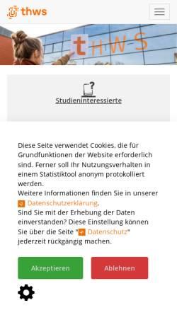 Vorschau der mobilen Webseite www.fhws.de, Hochschule für angewandte Wissenschaften Würzburg-Schweinfurt