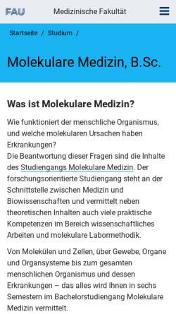 Vorschau der mobilen Webseite molmed.med.uni-erlangen.de, Molekulare Medizin