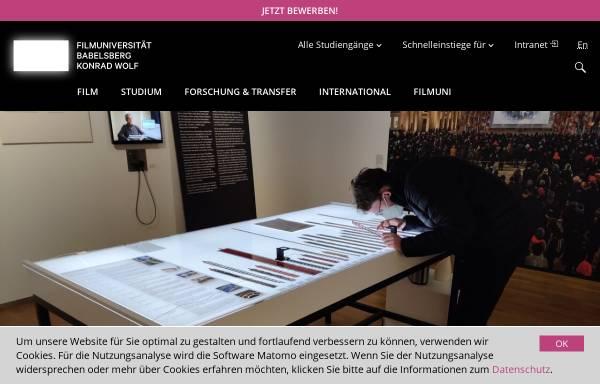 Vorschau von www.filmuniversitaet.de, Filmuniversität Babelsberg Konrad Wolf