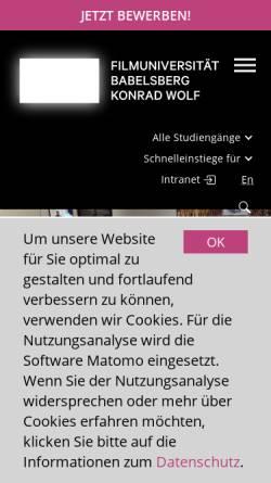Vorschau der mobilen Webseite www.filmuniversitaet.de, Filmuniversität Babelsberg Konrad Wolf