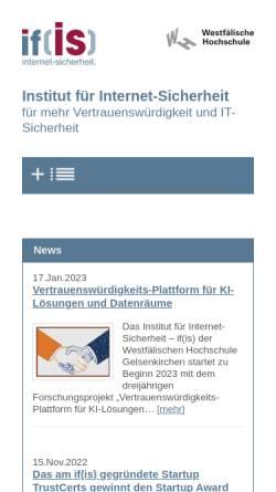 Vorschau der mobilen Webseite www.internet-sicherheit.de, Institut für Internet-Sicherheit - if(is)