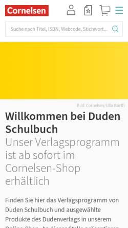 Vorschau der mobilen Webseite www.duden-schulbuch.de, Cornelsen Schulverlage GmbH