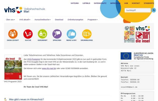Vorschau von www.vhs-marl.de, Volkshochschule der Stadt Marl