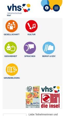 Vorschau der mobilen Webseite www.vhs-marl.de, Volkshochschule der Stadt Marl