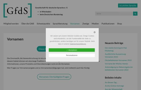 Vorschau von www.gfds.de, Gesellschaft für deutsche Sprache - Vornamen
