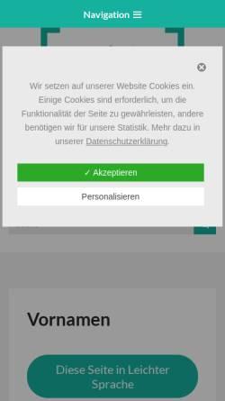 Vorschau der mobilen Webseite www.gfds.de, Gesellschaft für deutsche Sprache - Vornamen