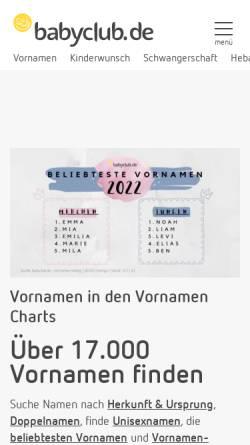 Vorschau der mobilen Webseite www.babyclub.de, Babyclub - Vornamen