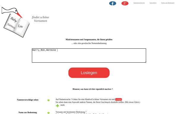 Vorschau von www.babynamenlos.de, Babynamenlos