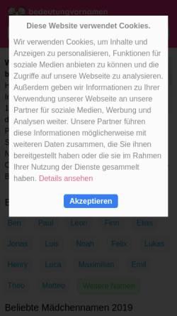 Vorschau der mobilen Webseite www.bedeutungvornamen.de, Bedeutung Vornamen