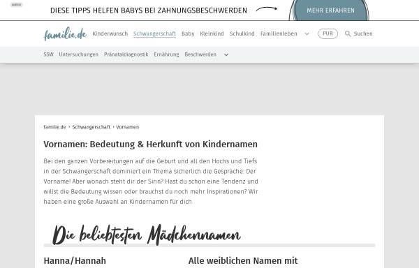 Vorschau von www.familie.de, Familie.de - Vornamen