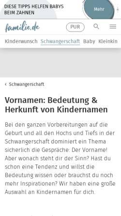 Vorschau der mobilen Webseite www.familie.de, Familie.de - Vornamen