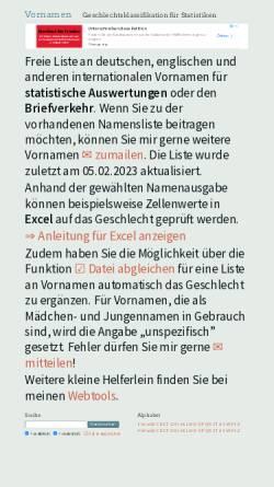 Vorschau der mobilen Webseite www.albertmartin.de, Vornamen-Geschlecht-Zuordnung