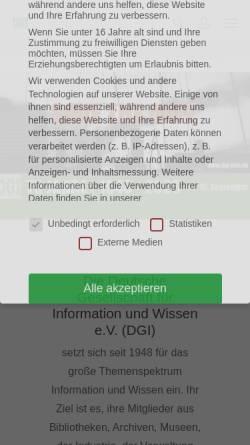 Vorschau der mobilen Webseite dgi-info.de, Deutsche Gesellschaft für Information und Wissen e.V.