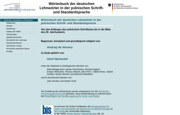 Vorschau von www.bis.uni-oldenburg.de, Wörterbuch der deutschen Lehnwörter im Polnischen