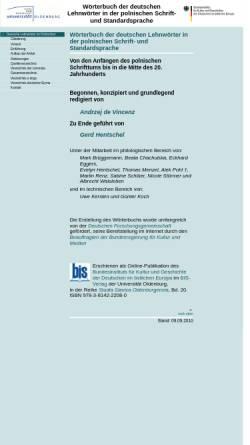 Vorschau der mobilen Webseite www.bis.uni-oldenburg.de, Wörterbuch der deutschen Lehnwörter im Polnischen