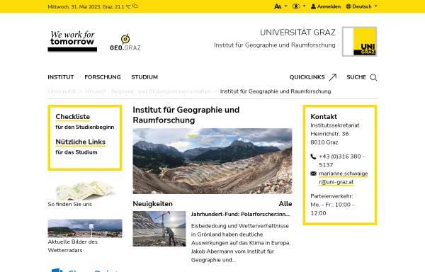 Vorschau von geographie.uni-graz.at, Institut für Geographie und Raumforschung Graz