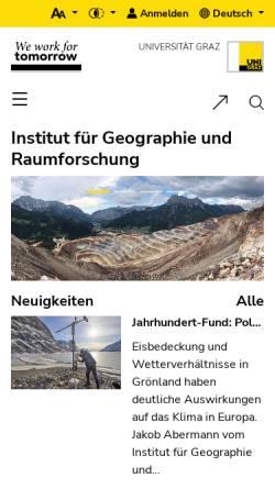 Vorschau der mobilen Webseite geographie.uni-graz.at, Institut für Geographie und Raumforschung Graz
