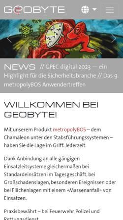 Vorschau der mobilen Webseite www.geobyte.de, Geobyte Software GmbH