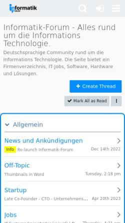 Vorschau der mobilen Webseite www.informatik-forum.at, Informatik-forum.at