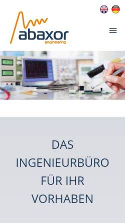 Vorschau der mobilen Webseite www.abaxor.de, Abaxor engineering GmbH