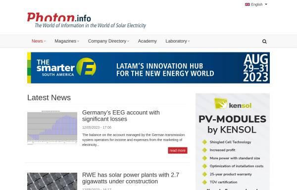 Vorschau von www.photon.info, Photon.info
