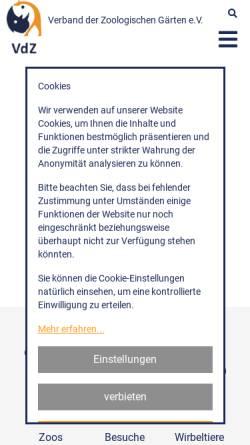 Vorschau der mobilen Webseite www.zoodirektoren.de, Verband der Zoologischen Gärten (VdZ)