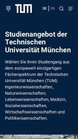 Vorschau der mobilen Webseite portal.mytum.de, Master Berufliche Bildung, Fachrichtung Ernährungs- und Hauswirtschaftswissenschaft an der TU München
