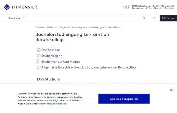 Vorschau von www.fh-muenster.de, Bachelor Lehramt an Berufskollegs - Berufliche Fachrichtung Ernährungs- und Hauswirtschaftswissenschaft an der Fachhochschule Münster