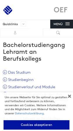 Vorschau der mobilen Webseite www.fh-muenster.de, Bachelor Lehramt an Berufskollegs - Berufliche Fachrichtung Ernährungs- und Hauswirtschaftswissenschaft an der Fachhochschule Münster