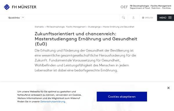 Vorschau von www.fh-muenster.de, Master Ernährung und Gesundheit an der Fachhochschule Münster