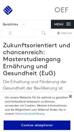 Vorschau der mobilen Webseite www.fh-muenster.de, Master Ernährung und Gesundheit an der Fachhochschule Münster