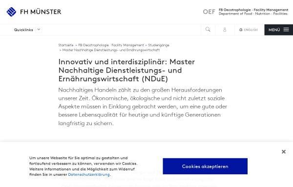 Vorschau von www.fh-muenster.de, Master Nachhaltige Dienstleistungs- und Ernährungswirtschaft an der Fachhochschule Münster