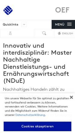 Vorschau der mobilen Webseite www.fh-muenster.de, Master Nachhaltige Dienstleistungs- und Ernährungswirtschaft an der Fachhochschule Münster