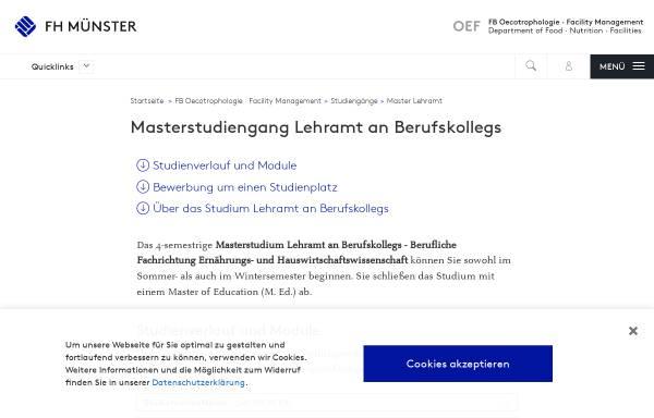Vorschau von www.fh-muenster.de, Master Lehramt an Berufskollegs - Berufliche Fachrichtung Ernährungs- und Hauswirtschaftswissenschaft an der Fachhochschule Münster