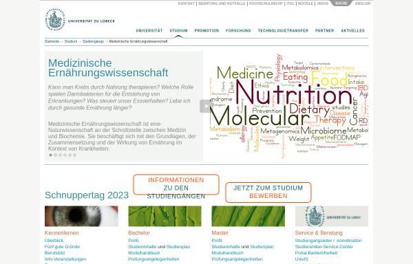 Vorschau von www.uni-luebeck.de, Bachelor Medizinische Ernährungswissenschaft an der Universität zu Lübeck