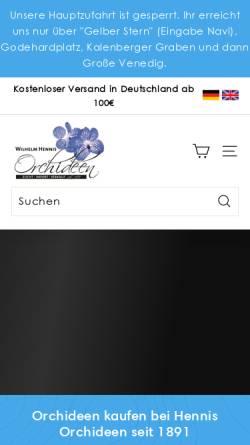 Vorschau der mobilen Webseite www.hennis-orchideen.de, Hennis Orchideen
