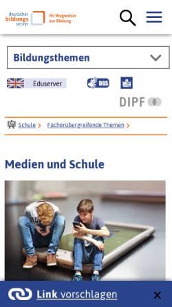 Vorschau der mobilen Webseite www.bildungsserver.de, Medien und Bildung - Deutscher Bildungsserver