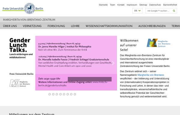 Vorschau von www.zefg.fu-berlin.de, Zentraleinrichtung zur Förderung von Frauen- und Geschlechterforschung
