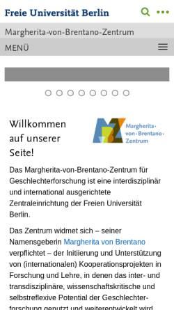 Vorschau der mobilen Webseite www.zefg.fu-berlin.de, Zentraleinrichtung zur Förderung von Frauen- und Geschlechterforschung