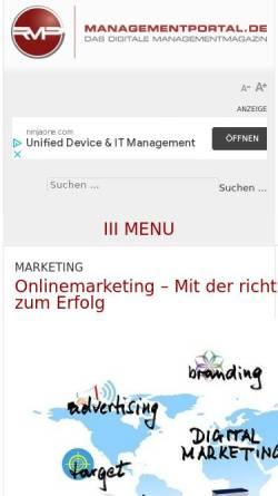 Vorschau der mobilen Webseite managementportal.de, Managementportal, Recklies Management Project GmbH