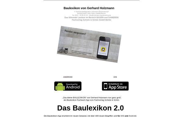 Vorschau von www.baubegriffe.com, Baulexikon von Gerhard Holzmann