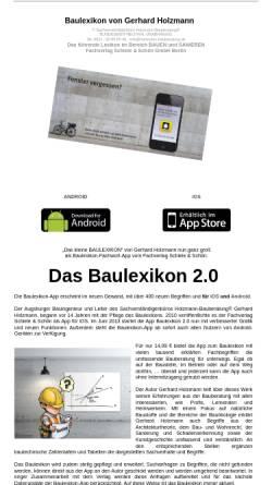 Vorschau der mobilen Webseite www.baubegriffe.com, Baulexikon von Gerhard Holzmann