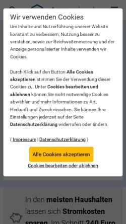 Vorschau der mobilen Webseite www.die-stromsparinitiative.de, Die Stromsparinitiative des Bundesumweltministeriums