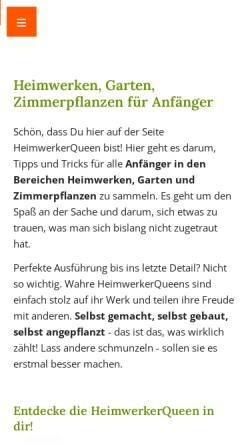 Vorschau der mobilen Webseite www.heimwerkerqueen.de, Entdecke die HeimwerkerQueen in Dir