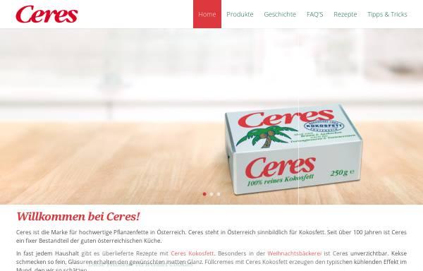 Vorschau von www.ceres.at, Ceres Soft Pflanzenfett und Ceres 100% Kokosfett