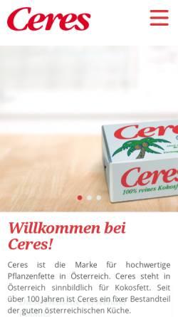 Vorschau der mobilen Webseite www.ceres.at, Ceres Soft Pflanzenfett und Ceres 100% Kokosfett